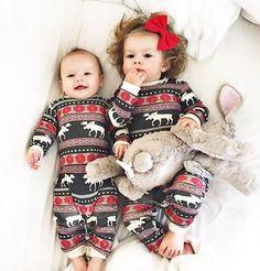 Christmas Pajamas Dress For Baby Girls Kids Boy Vestidos Toddler Baby Boy Girl Christmas Long Sleeve Deer Print Romper Clothes So Cute Baby, Cute Kids, Cute Babies, Babies Stuff, Pajamas For Teens, Toddler Pajamas, Baby Girl Pajamas, Matching Christmas Pjs, Family Christmas Pajamas