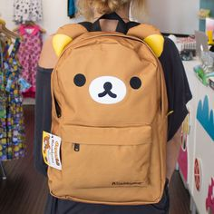Super cute and durable Rilakkuma x JapanLA Backpack, made by Loungefly. This backpack features Rilakkuma's ears at the top, embroidered face, and Rilakkuma prin Kawaii Bags, Kawaii Clothes, Mochila Kanken, Mode Kawaii, Kawaii Room, Kawaii Accessories, Things To Buy, Stuff To Buy, Cute Backpacks