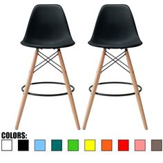"""Amazon.com: 2xhome - Set of Two (2) - White - 28"""" Seat Height Eames Chair Style DSW Molded Plastic Bar Stool Modern Barstool Counter Stools with backs and armless Natural Legs Wood Eiffel Legs Dowel-Leg…: Kitchen & Dining"""