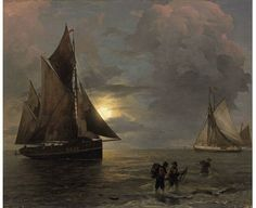 Andreas Achenbach (1815 - 1910) - A Coastal Landscape with Sailing Ships by Moonlight, 1874 - Oil on panel