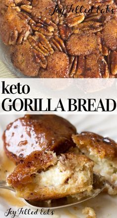 Gorilla Bread Low Carb Keto GlutenFree GrainFree SugarFree THM S Gorilla Bread is classic monkey bread with an amazing twist Every ball of sweet cinnamon dough is filled. Low Carb Sweets, Low Carb Desserts, Low Carb Recipes, Cooking Recipes, Bread Recipes, Healthy Recipes, Cinnamon Recipes, Meatloaf Recipes, Pork Recipes