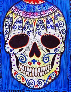 ORIGINAL PAINTING Mexican Day of the Dead Sugar skull