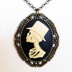 Lolita's Groom Cameo Necklace now featured on Fab. I love a man in a top hat!!! Very dapper, LOL!!!