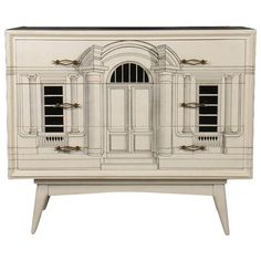 Fornasetti style commode having three drawers with Neoclassical inspired architectural building façade decorated front, top and sides. Raised on tapering legs Sideboard Furniture, Furniture Makeover, Cool Furniture, Painted Furniture, Furniture Design, Furniture Storage, Modern Furniture, Piero Fornasetti, Decorative Accents