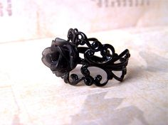 Black Ring Black Rose Ring Gothic Jewelry Goth by Phoebedreams, £6.50
