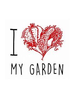 I Love My Garden - heart print, wall art, gift for gardener, art print, illustration, garden, A4 print, love, FREE UK SHIPPING by janesallotment on Etsy