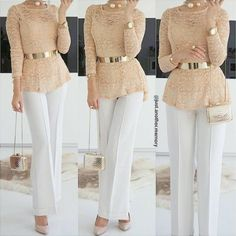 lace carmel blouse with golden belt-Chic elegant women outfits – Just Trendy Girls Source by houyemkhalfet hijabi outfits Muslim Fashion, Modest Fashion, Hijab Fashion, Fashion Dresses, Classy Outfits, Chic Outfits, Fall Outfits, Elegant Woman, Couture