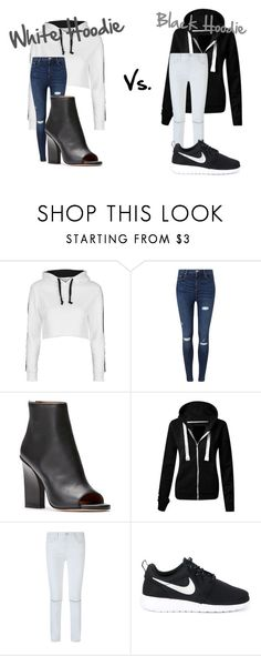 """""""White Hoodie Vs. Black Hoodie"""" by avalienho on Polyvore featuring Topshop, Miss Selfridge, Rebecca Minkoff, NIKE, white, black and blessed"""