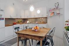 Kitchen - backsplash, mix & match table and chairs