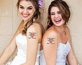 Custom Wedding Temporary Tattoos - Wedding Favors and Save the Dates - cake, let them eat cake, birds, unique favors. $2.60, via Etsy.