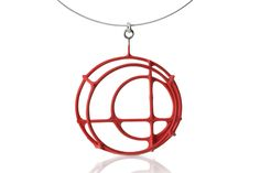 Donna D'Aquino Structural Circle Necklace in Red now at Side Street Gallery