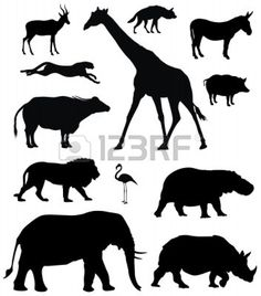 Vectors similar to 5839587 African animals, vector silhouettes – Art Center African Elephant, African Animals, African Safari, Silhouette Clip Art, Animal Silhouette, Safari Animals, Cute Animals, Silhouettes, Amazing Animals