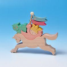 組み木 木のおもちゃ 『遊プラン』 KK231   走れ!馬乗りかぶと童子(小)