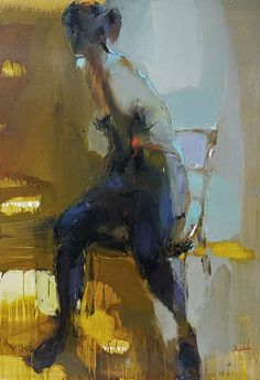 Artist: Iryna Yermolova {contemporary figurative #expressionist seated female woman smudged painting drips}