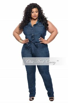 Plus Size Sleeveless Denim Jumpsuit with Tie – Chic And Curvy