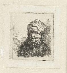 Adriaen van Ostade | Buste van een lachende boerin, Adriaen van Ostade, 1650 - 1652 | De buste van een lachende boerin heeft een pendant met een vergelijkbare voorstelling van een lachende boer. Deze is weergegeven vanuit een ander gezichtspunt zodat de koppen naar elkaar toe gewend zijn.