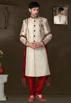 Beige Banarasi Silk Readymade Sherwani @ $392.05