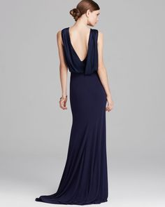 Vera Wang Gown Sleeveless Deep V Shawl Back Jersey in Blue (Navy) | Lyst