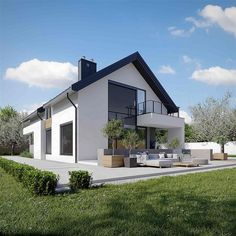 Projekt domu HomeKoncept-02 159,77 m2 - koszt budowy - EXTRADOM Bungalow House Design, Modern House Design, Modern House Plans, Home Fashion, Interior And Exterior, Mansions, Architecture, House Styles, Building