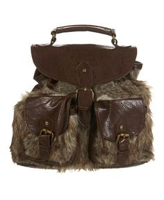 Faux Fur Backpack Bag with Leather Trims