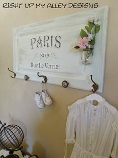 paris plaque,wall decor,coat hook wall hanging, by RightUpMyAlleyDesign on Etsy