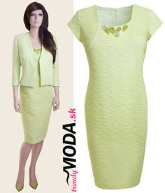 c2bf3c5453f0 Elegantné puzdrové šaty s kabátikom pre moletky v krásnej pistáciovej farbe .-trendymoda.sk