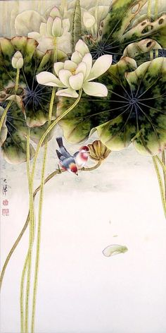 Птицы и цветы (Lou Dahua,китайская живопись) - Город.томск.ру