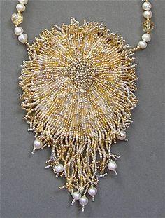 A beadwork necklace  SHIMMERING  SOPHIA  - wearable art. via Etsy.