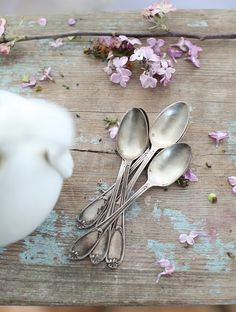 Love the table, spoons, flower petals...everything!