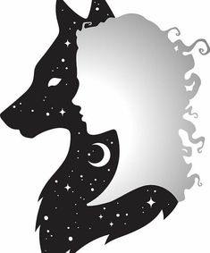 'She Wolf Woman and Wolf with Moon and Stars' Sticker by MagneticMama - Tatuajes de lobos - Fantasy Wolf, Fantasy Art, Animal Drawings, Art Drawings, Wolf Drawings, Wolves And Women, Wolf Artwork, Wolf Painting, Wolf Wallpaper