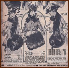 1916 Possum Wolf and Skunk Sets for ladies,Sears