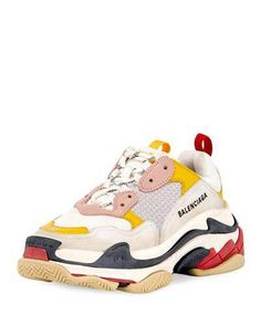 Balenciaga Colorblock Washed Triple Sneakers with Logo