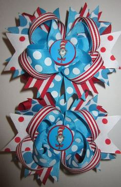 Cat in the Hat Custom Hair Bows for Pigtails Piggies. $16.99, via Etsy.