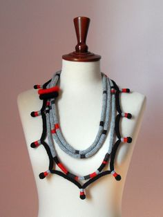 Knitted Necklace Grey Gray Black Red  Fiber Art by Silvia66, $123.00