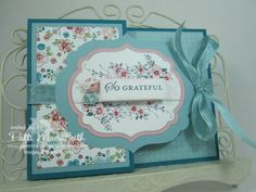 Card made with layered labels and a special fold from Splitcoast Stampers.