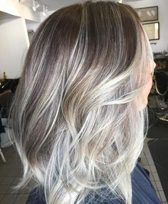 Brown+Layered+Hair+With+Silver+Balayage