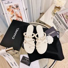Chanel Brand, Leather Slippers, Dream Closets, Chanel Shoes, Miu Miu Ballet Flats, Pearls, Woman, Inspired, Casual