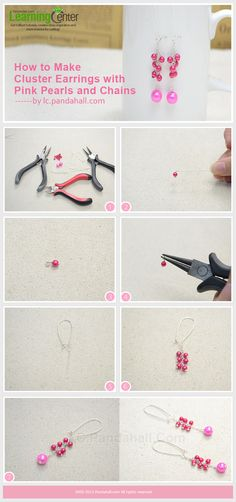 How to Make Cluster Earrings with Pink Pearls and Chains