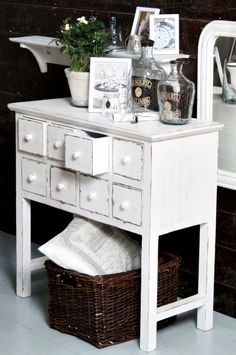 Melinda's table = Distressed bright white! Better option then glossy white for office?