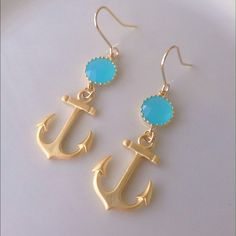 16k gold plated Pacific Opal&Anchor Earrings These stunning earrings are sure to light up the room! Made with sparkly faceted pacific opal glass that is gold plated. Dangling down are gorgeous 16k gold plated anchor charms. Anchors have matte finish.Earrings can be worn for many occasions including weddings, dances, parties, a fancy night on the town or even a casual day out. Perfect for summer! Earrings are handmade and brand new. Materials: 16k gold Nickel & lead free. Tags…