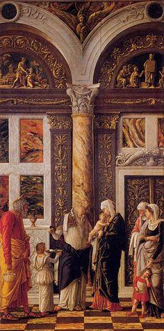 The Circumcision - Andrea Mantegna.  1460-64.  Tempera on panel.  86 x 43 cm.  Galleria degli Uffizi, Florence, Italy.