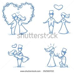 Set of four cartoon love wedding couples for engagement or marriage invitation, save the date card. Hand drawn vector illustration