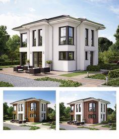 Moderne Stadtvilla Fertighaus   Haus Evolution 122 V14 Bien Zenker    Fassadengestaltung Putz Klinker