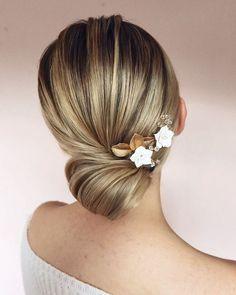 Wedding Updos Ultimate Guide - Most Trendy Ideas For 2021/2022 ❤ wedding updos elegant sleek with white flower pin lisaalgeracademy #weddingforward #wedding #bride #weddinghair #weddingupdos #bridalhair
