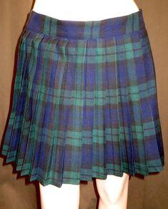 Black Watch Plaid Heavy Pleated Elastic Waistband Skirt ~