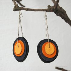 Eco friendly earrings.Black and pumpkin colors by missismiss, $18.00