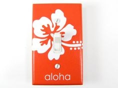 Hibiscus Flower Light Switch plate Cover - Choose Your Color - Aloha, Hawaiin Decor, Surfing Decor, Surf Nursery, Beach Decor, Surfer Switch Plate Covers, Light Switch Plates, Surfer Bedroom, Surfing Decor, Surf Nursery, Surfer Baby, Bedroom Themes, Girls Bedroom, Bedroom Decor