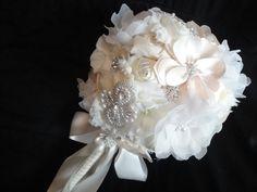 Wedding Bouquet, Ivory Bridal Bouquet, Handmade Flowers, Rhinestone and Pearls, Keepsake Bridal Bouquet, Everlasting Bouquet. $350.00, via Etsy.