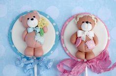 Little Cute Teddy Bear Couple Cake Topper Pick - Fondant Childeren Birthday, Wedding Decoration, Baby Shower Cupcake Topper