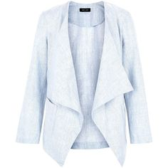 New Look Pale Blue Textured Waterfall Blazer ($21) ❤ liked on Polyvore featuring outerwear, jackets, blazers, giacche, pale blue, open front blazer, long sleeve jacket, textured blazer, waterfall jacket and long sleeve blazer